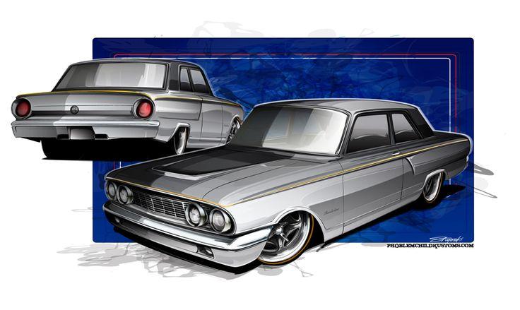 HOT ROD ART • Some custom Fairlane rendering goodness from back... #cars #illustration #art #hotrod