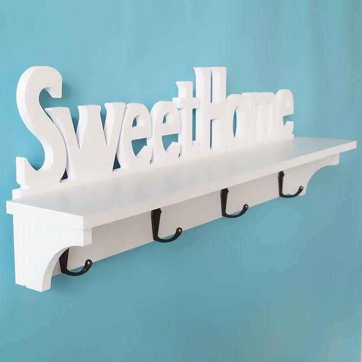perchero de pared estante repisa madera sweet home diseo