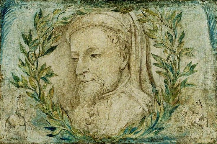 The Literary Origins of Valentine's Day. [Image: William Blake – Geoffrey Chaucer – Manchester City Gallery – Tempera on canvas c 1800, public domain.http://interestingliterature.com/2014/02/13/the-literary-origins-of-valentines-day/ ]