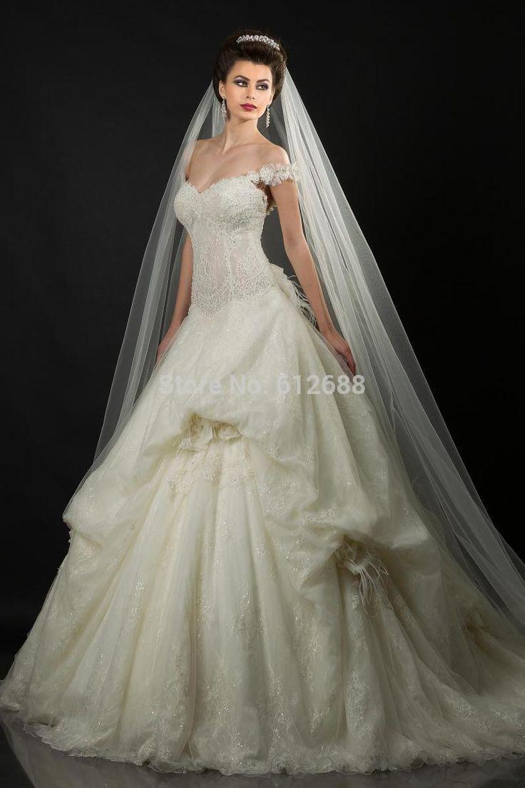Бальное платье Свадебное Платье Милая Cap Рукавом Бисероплетение Аппликации Pleat Суд Поезд Кружева Ближний Восток Длинные Свадебные Платья