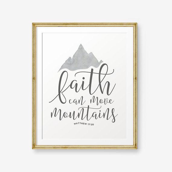 Faith can move mountains - Matthew 17:20, Bible verse printable, Scripture Print…