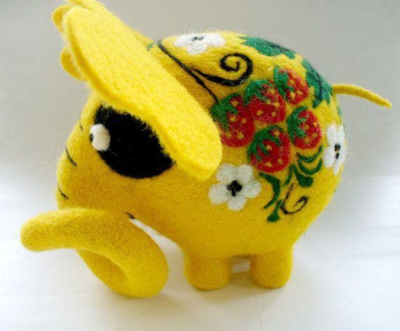 Needle Felted Toy Fairy  Elephant  Khokhloma by TashaToys on Etsy, $80.00