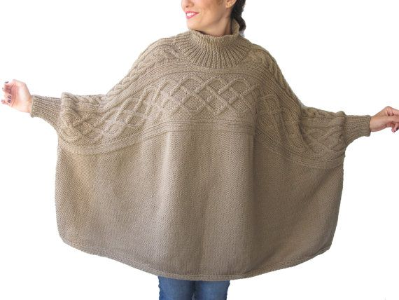 Beige Turtleneck Boyfriend Sweater Plus Size Over Size by afra