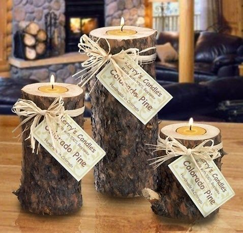 3 PIECE LODGE LOOK RUSTIC REAL WOOD LOG CANDLE SET WITH by emmyl33
