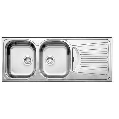 Blanco - Évier de cuisine en acier inoxydable, 2 cuves, égouttoir à droite, montage en surface - SOP463 - Home Depot Canada