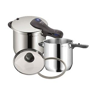 WMF Pressure Cooker Set 18/10 Stainless 6.5 Qt + 4.5 Qt With Two Lids