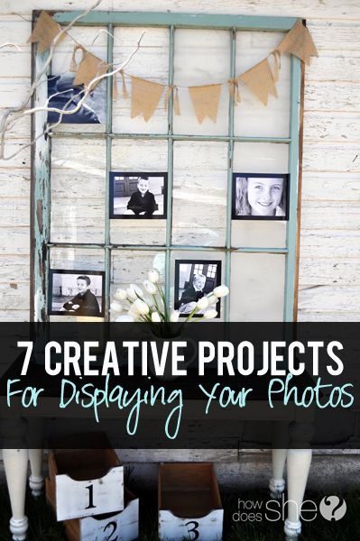 Seven creative projects perfect for displaying your photos! Perfect for your home, backdrops, receptions, parties, etc...