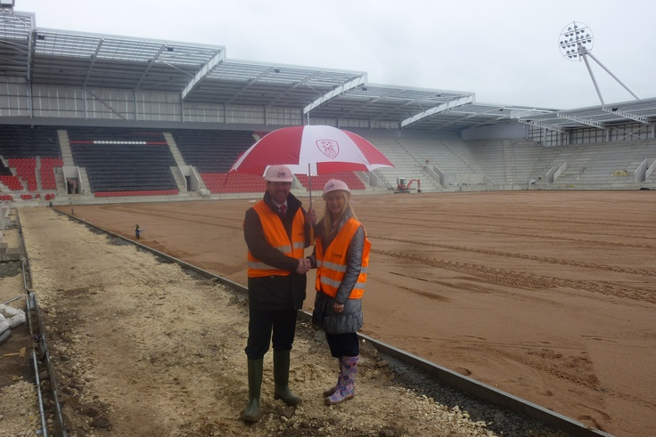 Generating publicity for our client as they sign commercial deal with new football stadium