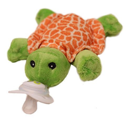 Nookums Paci-Plushies Shakies Plush Universal Pacifier Holder with Rattle Tickles Turtle