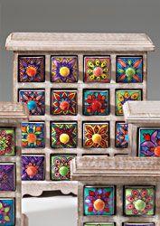 16 drawer ceramic storage chest, antique lime