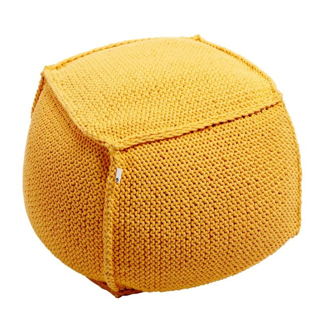 UFF PUFF pouf - Dwie Baby  UFF PUFF poufs, cube-shaped seats were formed from cotton string. Each one is of knitting made, what gives them a beautiful, simple weave.