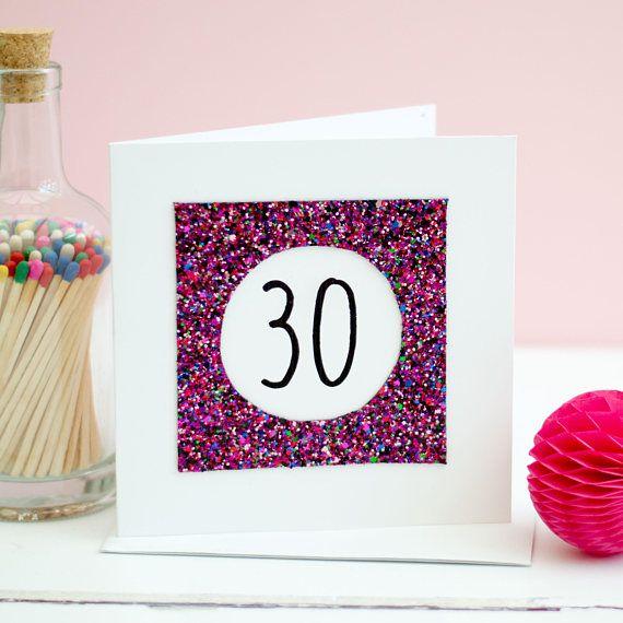 30th Birthday Card Pink Glitter Card Card For 30th Birthday