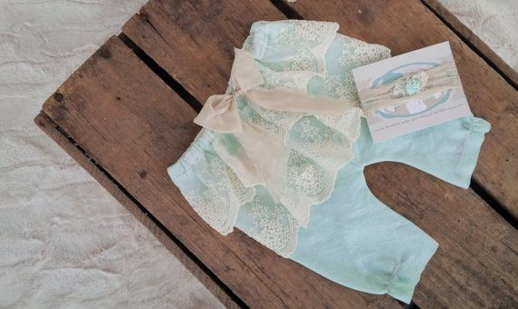 Mint and Cream Delicate Lace Ruffle Pant Set Newborn Photography Newborn Pants and Newborn Tie-back on Etsy, $46.07
