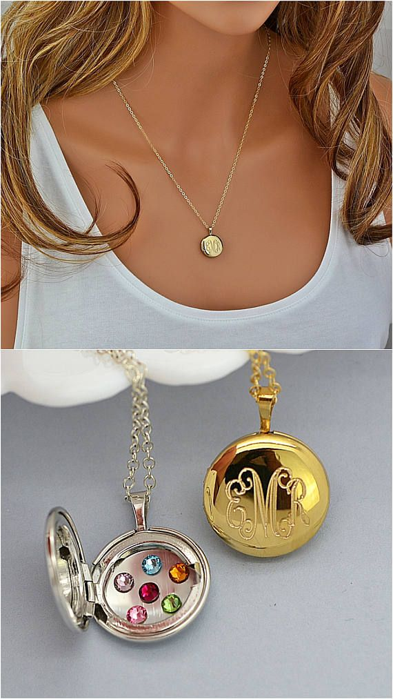 Engraved Locket Necklace, Locket Necklace, Silver Locket, Locket with Birthstone, Personalized Locket Necklace Gold or Silver by malizbijoux. Explore more products on http://malizbijoux.etsy.com