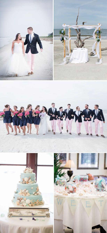 Preppy Pink and Blue South Carolina Beach