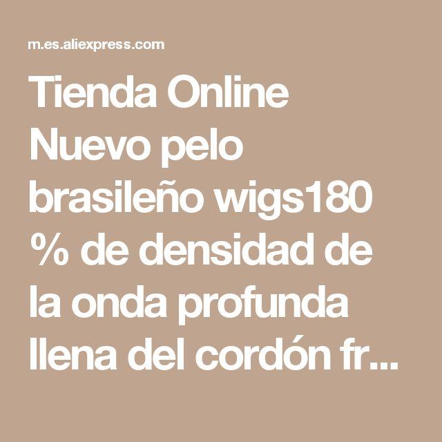 Tienda Online Nuevo pelo brasileño wigs180 % de densidad de la onda profunda llena del cordón frontal pelucas del cordón partting medio largo de la onda profunda virginal del pelo humano pelo   Aliexpress móvil