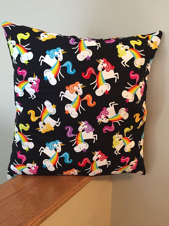 Puking rainbows unicorn decorative pillow