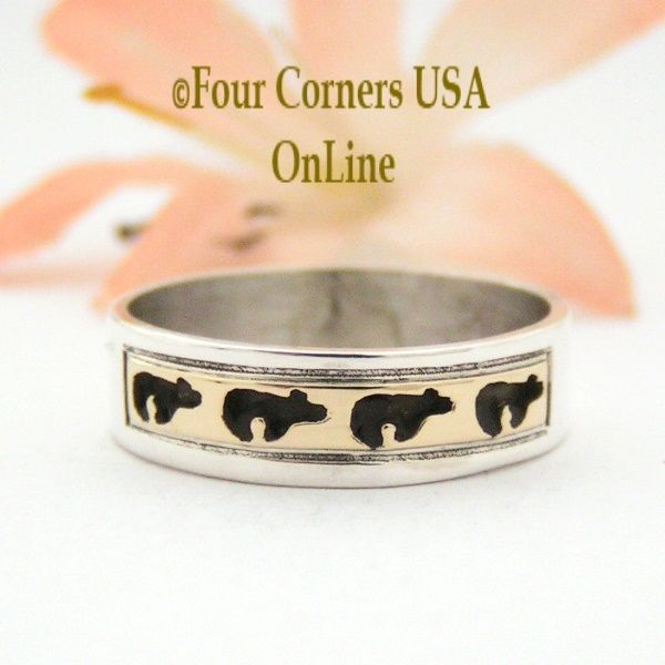 Four Corners USA Online - Size 7 1/2 Ring 14K Gold and Sterling Bear Wedding Band Style Navajo Scott Skeets NAR-1572, $65.00 (http://stores.fourcornersusaonline.com/size-7-1-2-ring-14k-gold-and-sterling-bear-wedding-band-style-navajo-scott-skeets-nar-1572/)