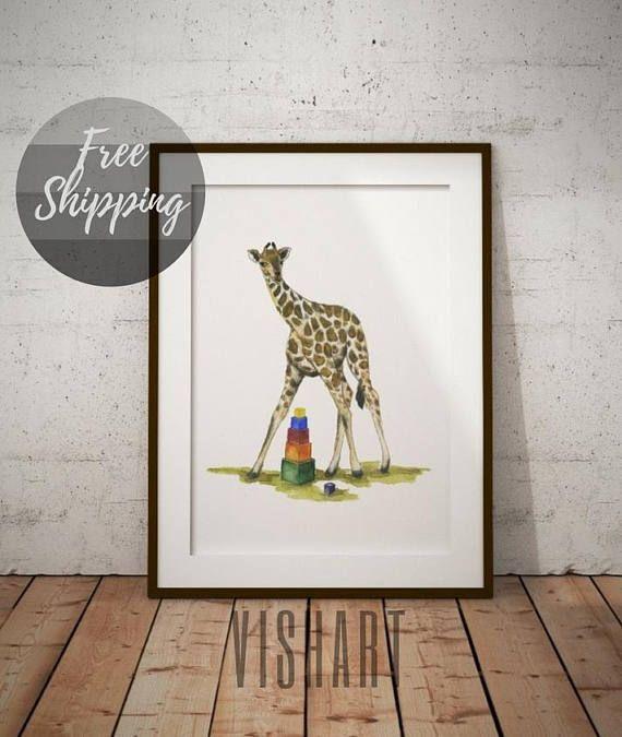 Giraffe nursery wall art safari animal watercolor print