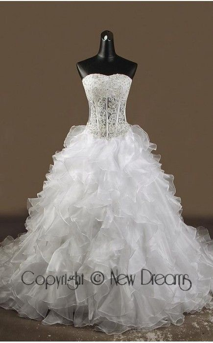 abito da sposa V3002-lace and organza wedding dress-ball Gown style v3002