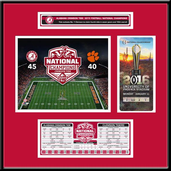 Alabama Crimson Tide College Football Playoff 2015 National Champions Ticket Frame with Stat Box - $149.99