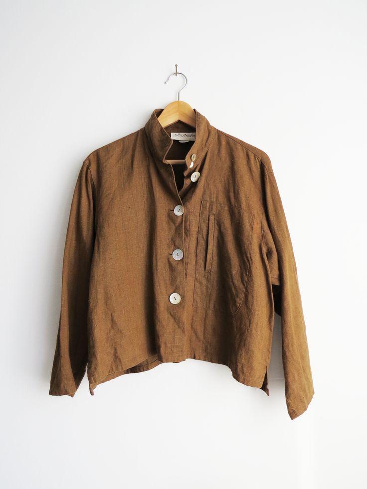 Linen Light Jacket // 1990's Brown Linen Shirt SOLD