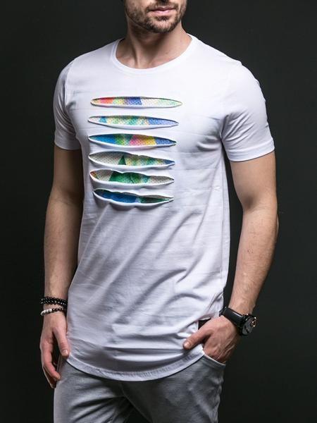 N&R Men Front Ripped Tri T-shirt - White