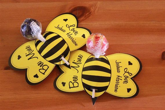 Items similar to Bee Lollipop Personalized Valentine Cards- Printable on Etsy