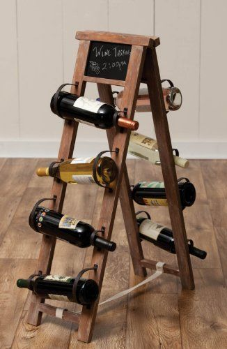 """36"""" Craftsman Style Chalk Board A-Stand Wooden Wine Rack by Cape Craftsmen. $99.99. Rustic Style Chalk Board A-Stand Wooden Wine RackItem #8WHW08001Rack is fashioned after side walk style A-shaped stand with small chalkboard section on the top of both sidesRack holds 8 wine bottlesDimensions: 36"""" H x 9"""" W x 11"""" DMaterial(s): wood/chalkboardNote:Wine bottles not included"""
