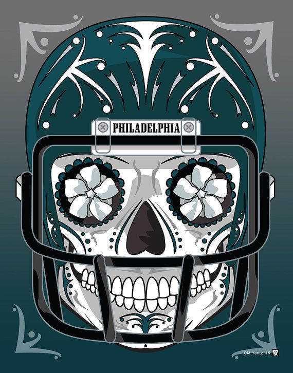"""Philadelphia Eagles"" Sugar Skull Day of the Dead Calavera Print Inspired by the professional football team"