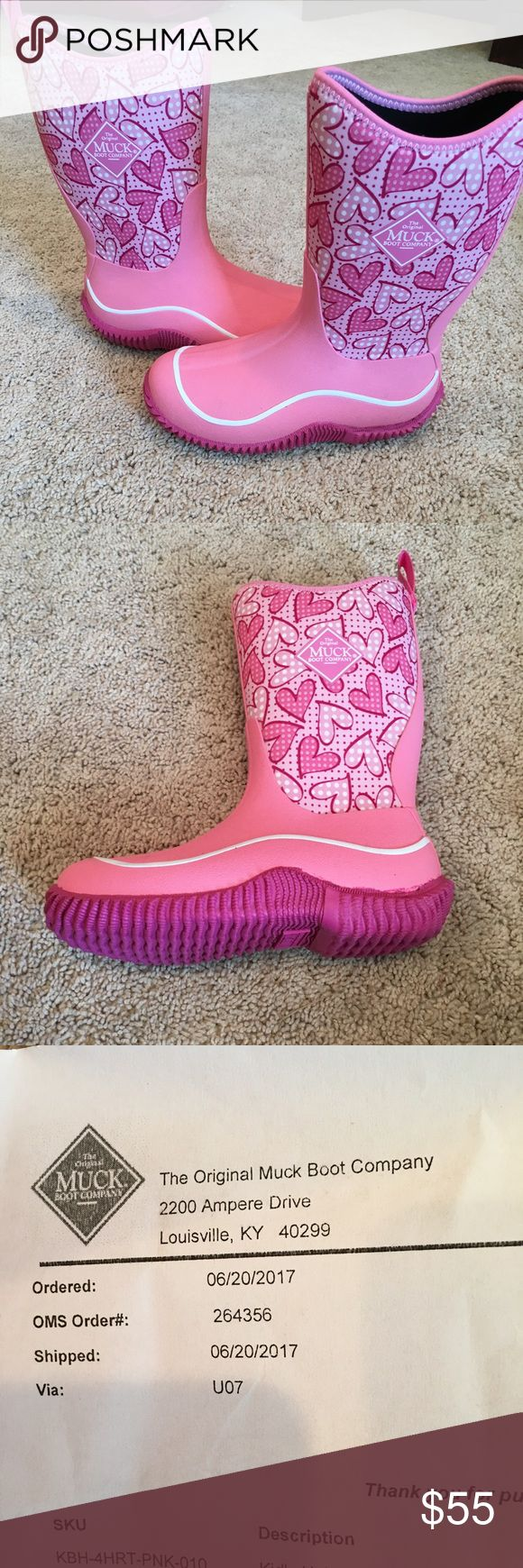 Muck boots Girls size 1!  Pink with hearts. Never worn.  Pink with hearts The Original Muck Boots.  Bought for my daughter but are the wrong size. Muck Boot Company Shoes Rain & Snow Boots