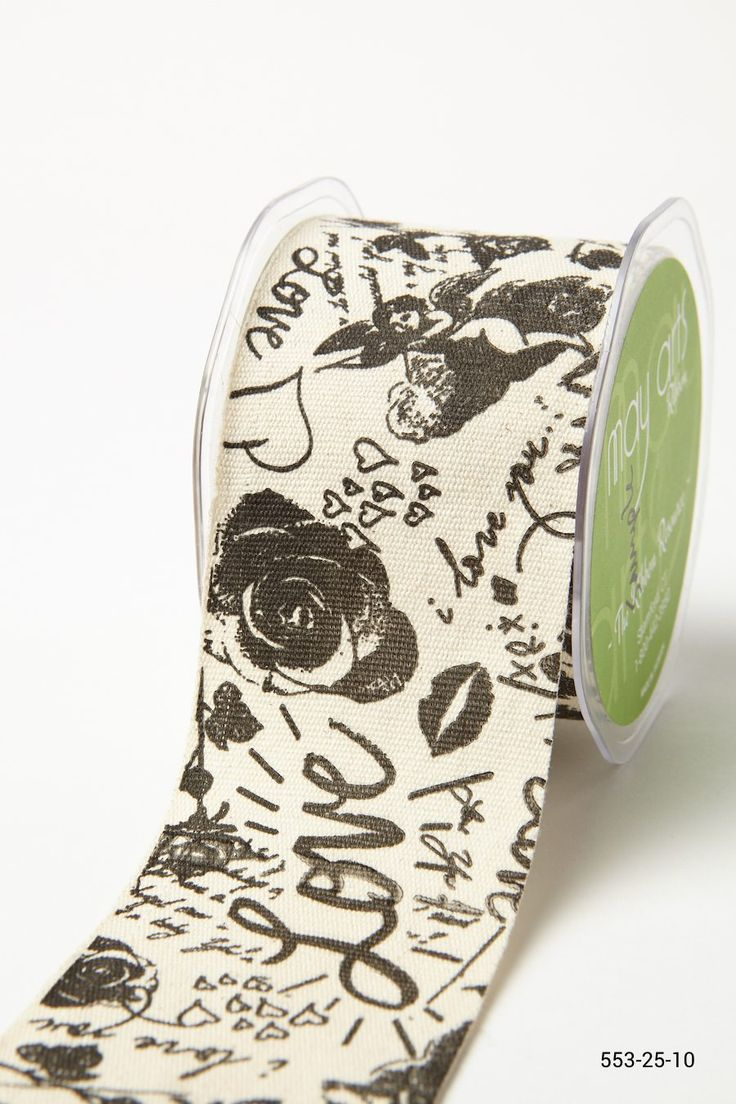 2.5 Inch Graffiti Love Ribbon Ivory / Black Graffiti Love   – { Art Journaling }