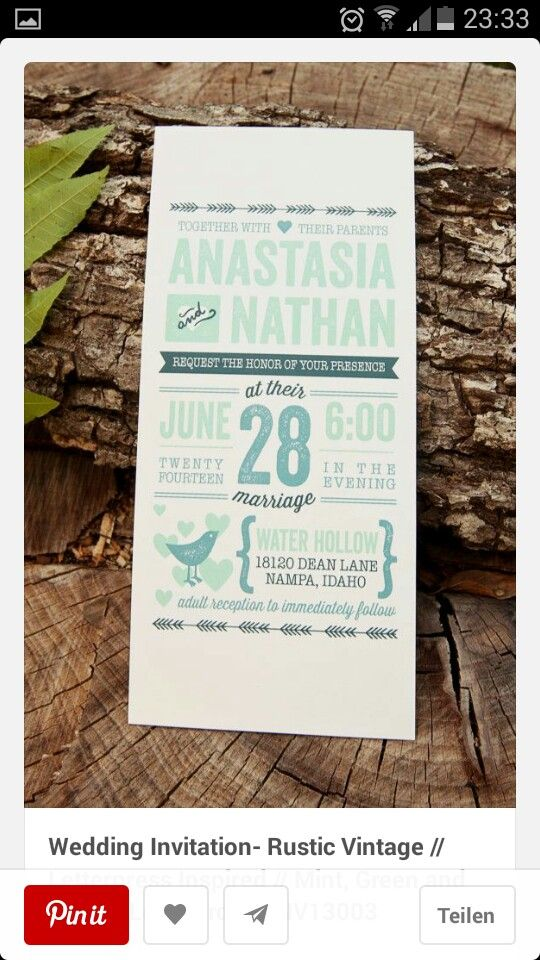 wedding invitation mint green%0A Wedding Invitation Rustic Vintage    Letterpress Inspired    Mint  Green  and Navy    Love Birds