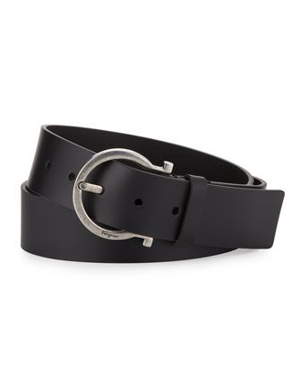 Basic+Gancini-Buckle+Belt,+Black+by+Salvatore+Ferragamo+at+Neiman+Marcus.