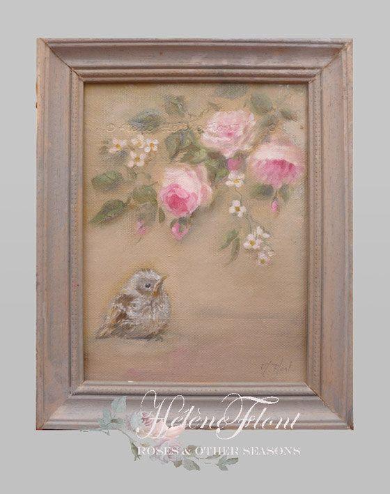 Bébé Moineau, roses antiques, Rosier - pépinière, peinture à l