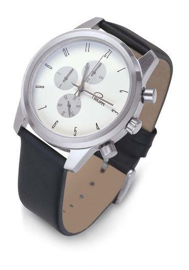 Philippi Horloge 'Tempus C1' Met lederen band en geborsteld edelstalen klok.