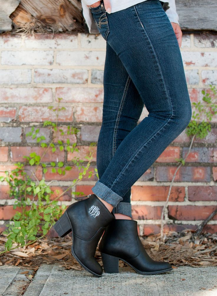 Black Monogrammed Ankle Boots