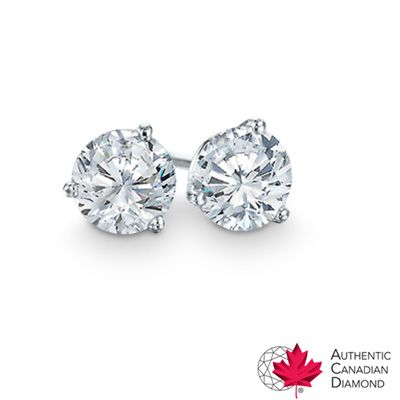 1.40 CT. T.W. Certified Canadian Diamond Solitaire Stud Earrings in 14K White Gold