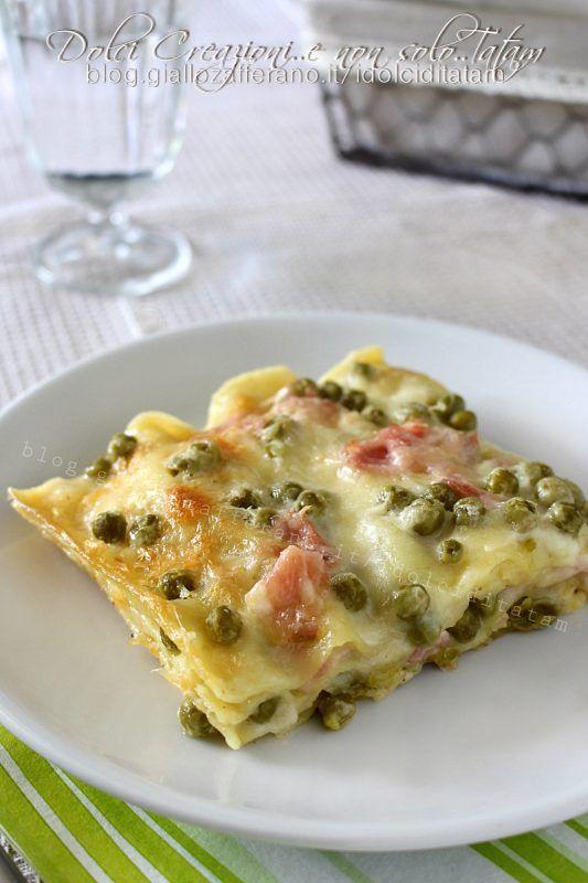 Lasagne in bianco piselli e prosciutto cotto, gustose e filanti