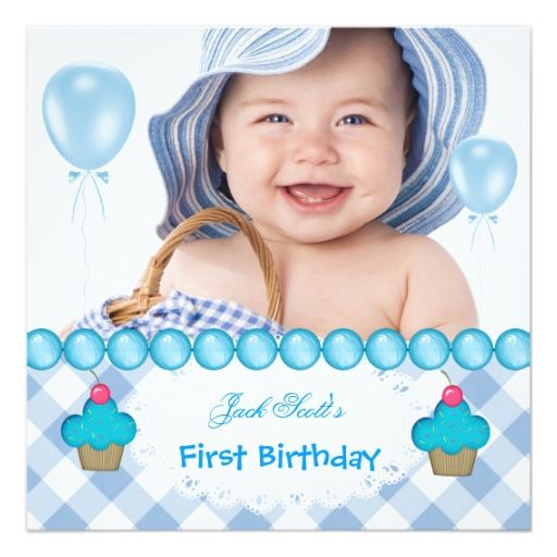 1788 best baby boy 1st birthday party invitations images on baby boy first birthday 1st cupcakes blue card stopboris Image collections