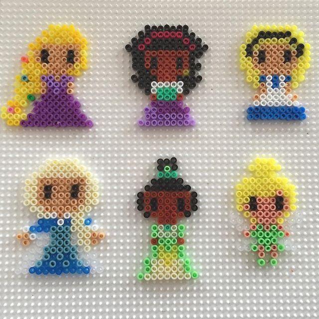 Disney Princess (Rapunzel, Megara, Alice, Elsa, Tiana and Tinker Bell) perler beads by bertine.klapwijk