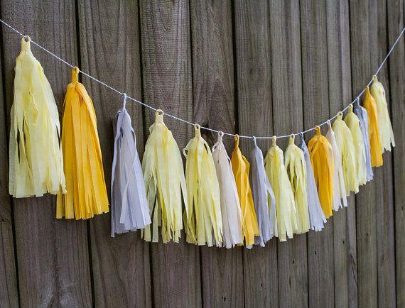 Weefsel kwast Garland in geel en grijs gratis verzending