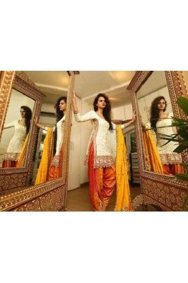Royal White Embroidered Cotton Un-Stiched Salwar Suit