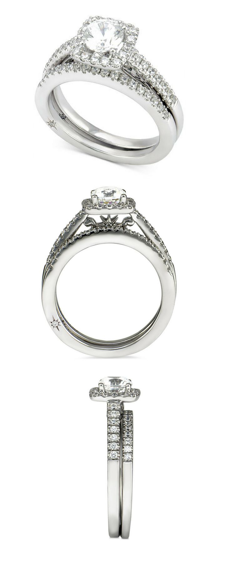 Top engagement ring or wedding band, with diamonds