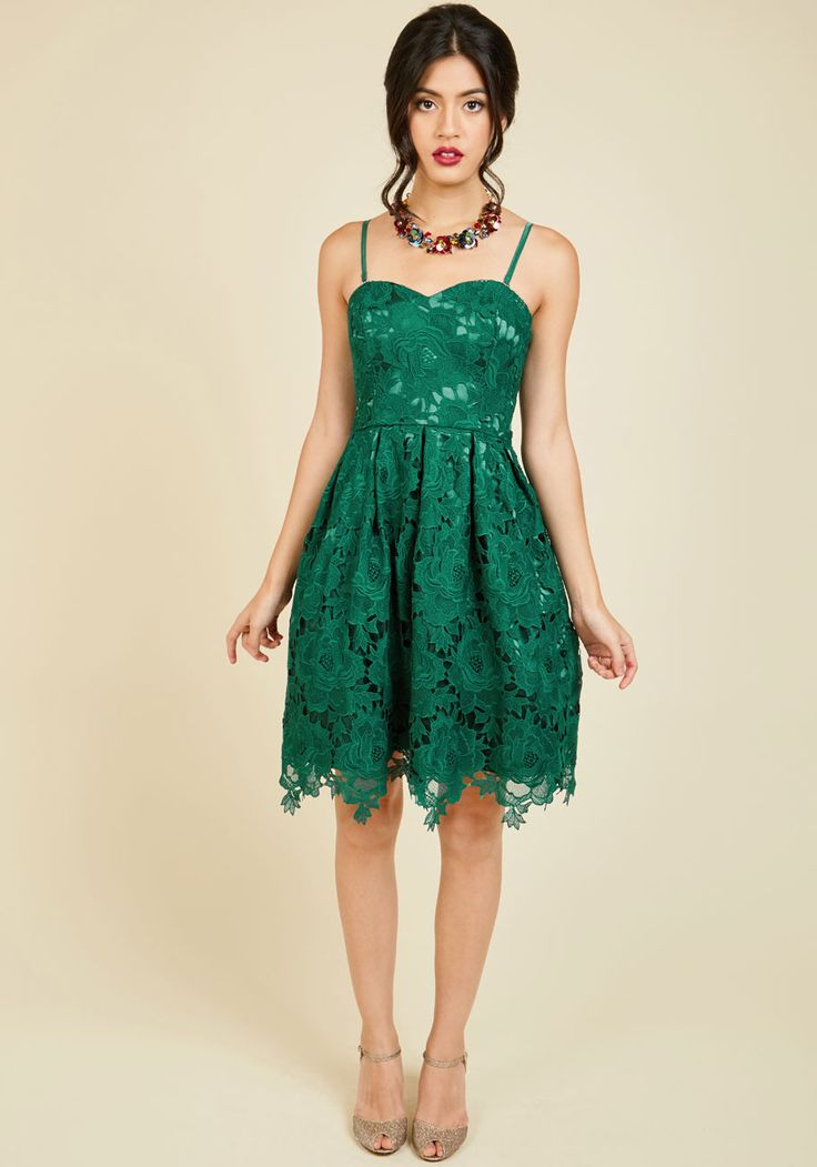 Elegantly articulating the drama you wish to convey, this forest green cocktail dress leaves an enduring impression! Covered in crocheted lace roses atop a matching, satin lining and touting optional straps, this ModCloth-exclusive sweetheart style poignantly depicts that panache is a permanent mainstay in your life.