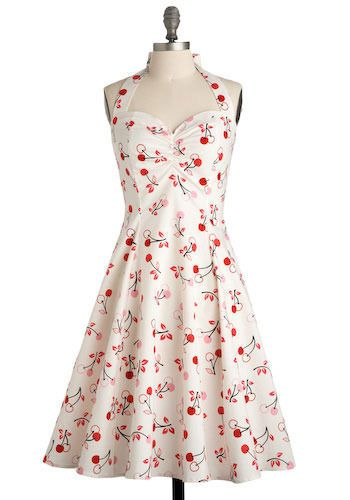 Cherry Valence Dress - Love the print, and love the style. #cherry #white #pink # red #retro #vintage
