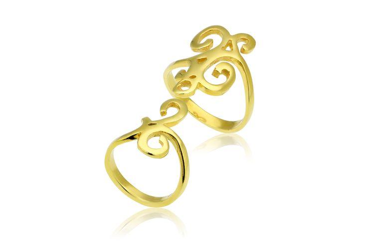 Double Ring With Arabesque Motif Δαχτυλίδι από επιχρυσωμένο ασήμι 925.Price: 90€