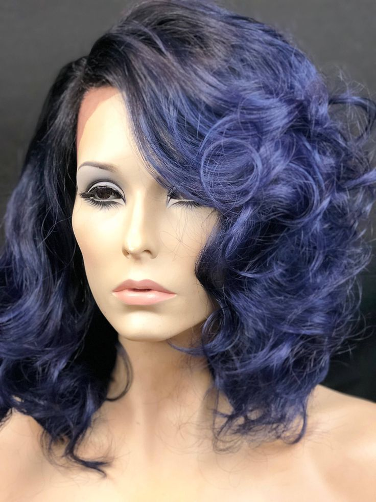 Excited to share the latest addition to my #etsy shop: Navy Blue Fun Messy Bob Wig, Heat Safe Hair Lace Front Wig, 4x4 Multi-Directional Parting