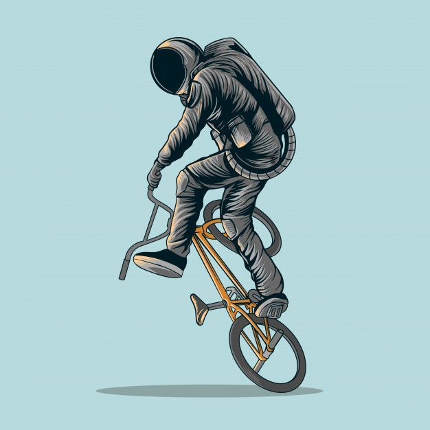 Astronaut Freestyle Bmx Bike Illustration In 2020 Fiets Illustratie Bmx Illustration