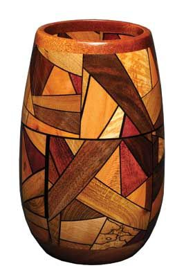 Mixed Exotic Wood Vase - by Alan Funnell.